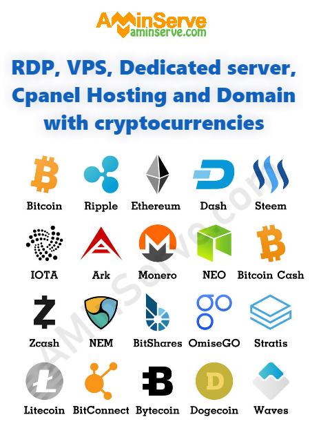 RDP, VPS and Dedicated server with cryptocurrencies