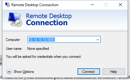 New remote desktop port