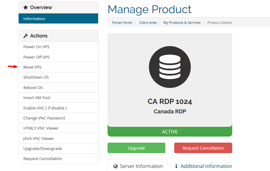 reset rdp or reset vps
